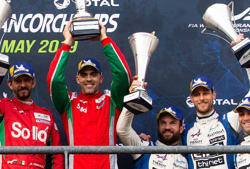 Pastor Maldonado receiving his trophy at the 6 Hours of Spa-Francorchamps, 2019