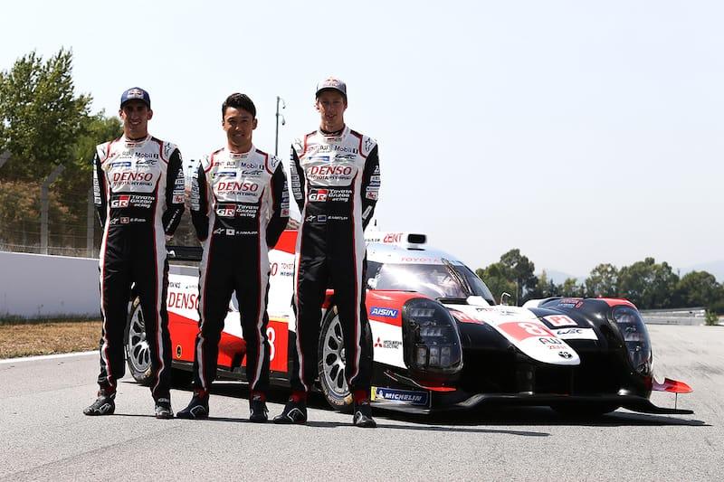 Toyota Gazoo Racing car #8 line-up (left to right: Kazuki Nakajima, Sebastien Buemi and Brendon Hartley)