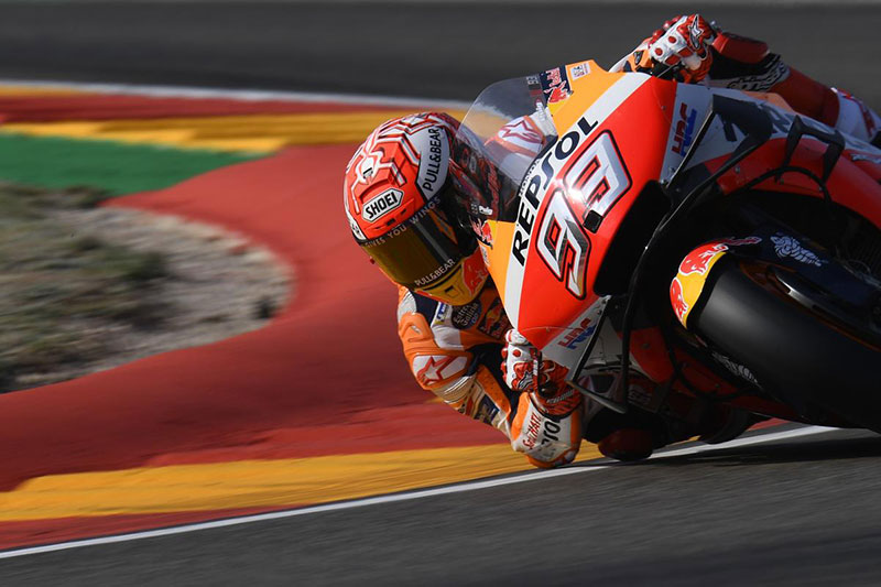Marc Marquez cruises to pole position at Aragon