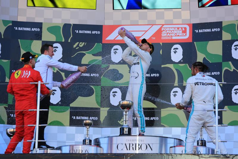 Valtteri Bottas & Lewis Hamilton - Mercedes-AMG Petronas Motorsport, and Sebastian Vettel - Scuderia Ferrari at the 2019 Formula 1 Japanese Grand Prix - Suzuka International Racing Course - Podium