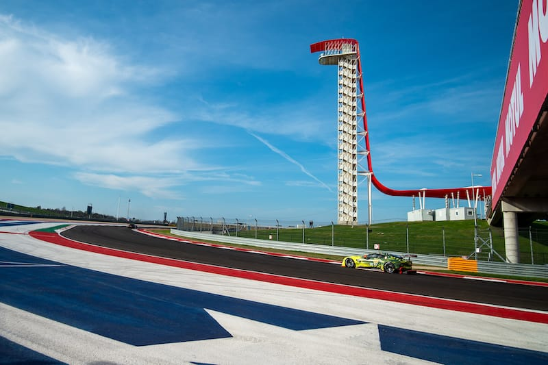 #97 Aston Martin Racing on track at Circuit of the Americas, 2020