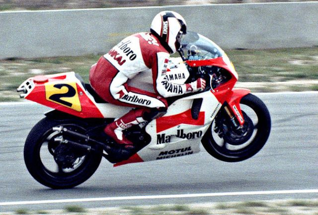 Wayne Rainey driving out of turn 3 at the 1990...