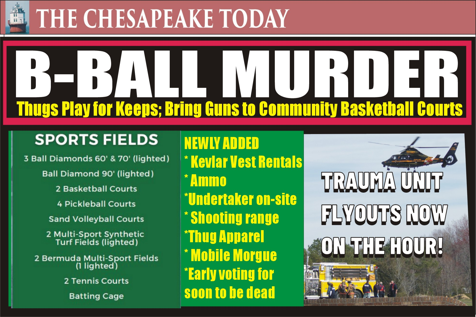 MURDER USA: Basketball beef turns to homicide! TWO SHOOTINGS IN ST. MARY'S COUNTY: Two adults have been flown to trauma centers after gunfire at a teen center in Great Mills; the second scene near Lexington Park