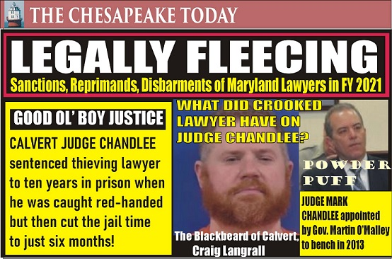 LAWYERS DISCIPLINED AND DISBARRED: Sanctions and actions affecting licensure in the fiscal year 2021; Featuring the Blackbeard of Calvert Craig Langrall & Good Ol' Boy Judge Mark Chandlee