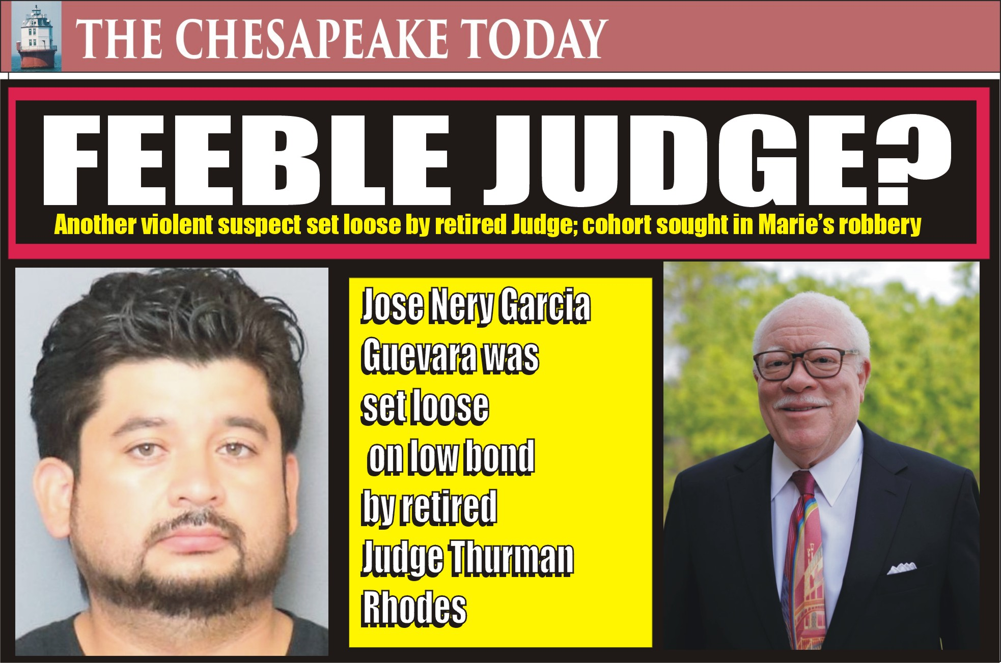 ARMED ROBBERY: Charles Sheriff Troy Berry reports arrest of Jose Nery Garcia Guevara in armed robbery and stabbing of cook at Marie's Diner; Retired Judge Thurman Rhodes allowed low bond