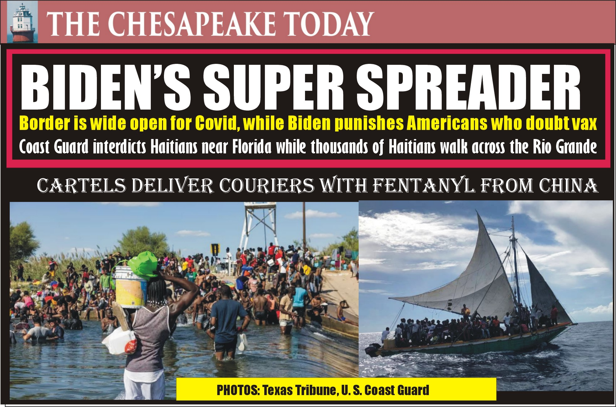 BIDEN'S SUPER SPREADER: Haitians being picked up in ocean transit by Coast Guard and returned to Haiti; while thousands of illegals are walking thru the Rio Grande at Del Rio, Texas bringing a fresh blue wave of Covid with no masks and no vaccine shots; 400 Border Patrol Agents Rushed to Texas
