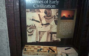 Exhibit at U.S. Chess Hall of Fame on the ancient Egyptian game, Senet. Copyright © 2001, Daaim Shabazz.