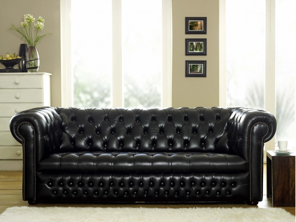 Ludlow Black Leather Chesterfield Sofa  The Chesterfield