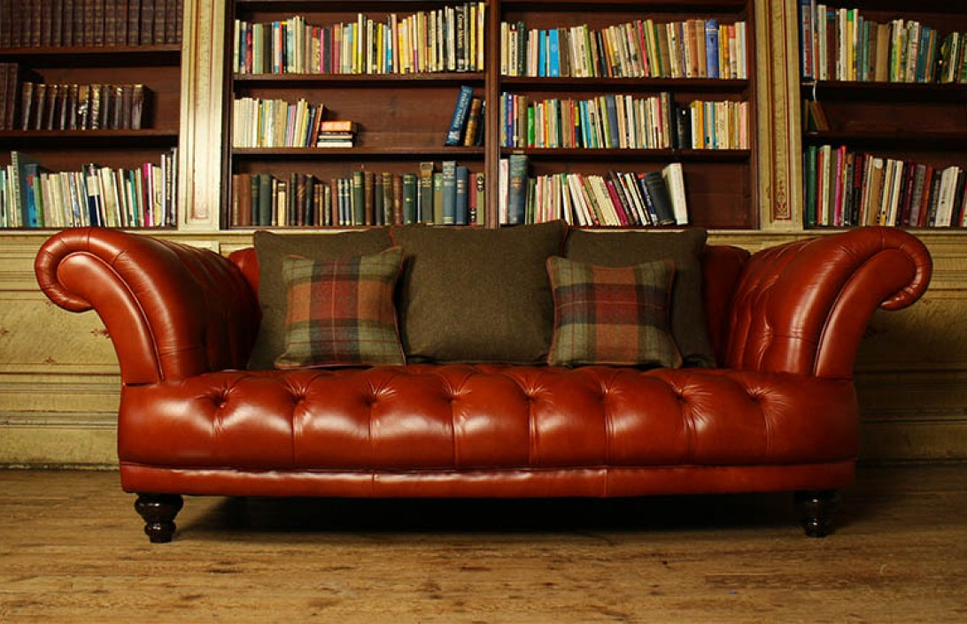 tartan chesterfield sofa waiting area edmund vintage brown leather company