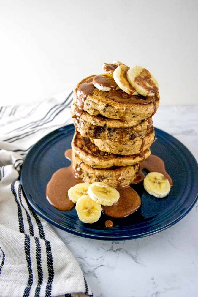vegan chocolate chip banana bread pancakes