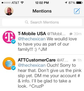 AT&T/T-Mobile Tweets