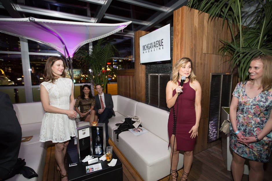 CHICAGO, IL - APRIL 20:  (L-R) Marina Squerciati, Sophia Bush, and Meg Mathis attend Michigan Avenue Magazine's Late Spring Issue Release Celebration With Sophia Bush At The Godfrey Hotel Chicago on April 20, 2015 in Chicago, Illinois.  (Photo by Jeff Schear/Getty Images for Michigan Avenue Magazine)