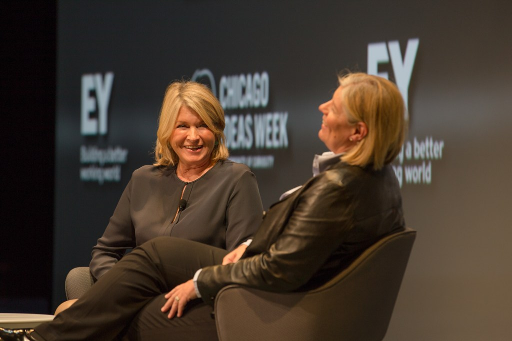 "CHICAGO, IL - OCTOBER 14: Laura Desmond, Global CEO of Stardom Mediavest Group, interviewed Martha Stewart, Founder of Martha Stewart Living Omnimedia, about redefining the lifestyle brand at the ""Top of Their Game: Entrepreneurs and Their Startup Stories"" talk, presented by EY, at the Cadillac Palace Theatre in Chicago. (Photo by Tim Klein/Chicago Ideas week)"