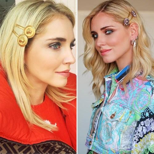 Le hair clips indossate da Chiara Ferragni per Versace