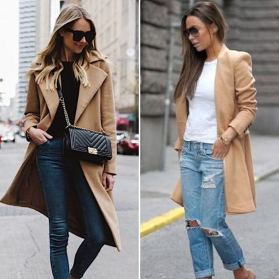Cappotto cammello e jeans