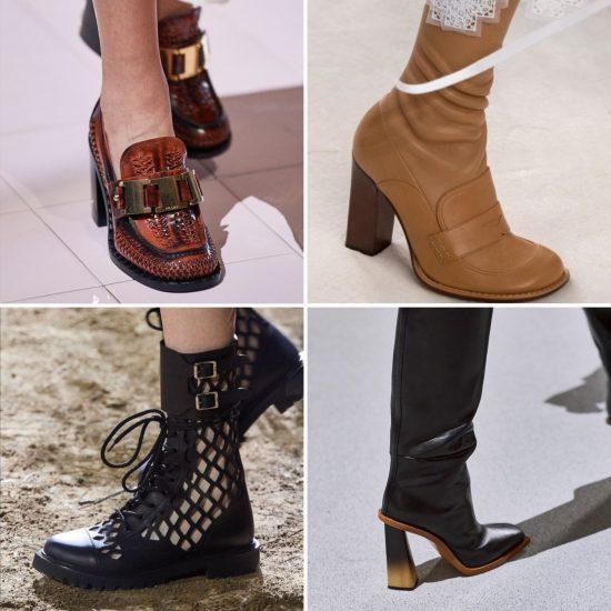 Scarpe P/E 2020 - mocassini con tacco Prada, anfibi intagliati Dior, stivali Loewe e Givenchy