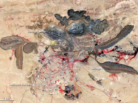 NASA satellite image of Chinese rare earths mine: a dangerous enterprise grows inexorably