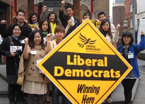 Merlene Emerson with her supporters in London Chinatown