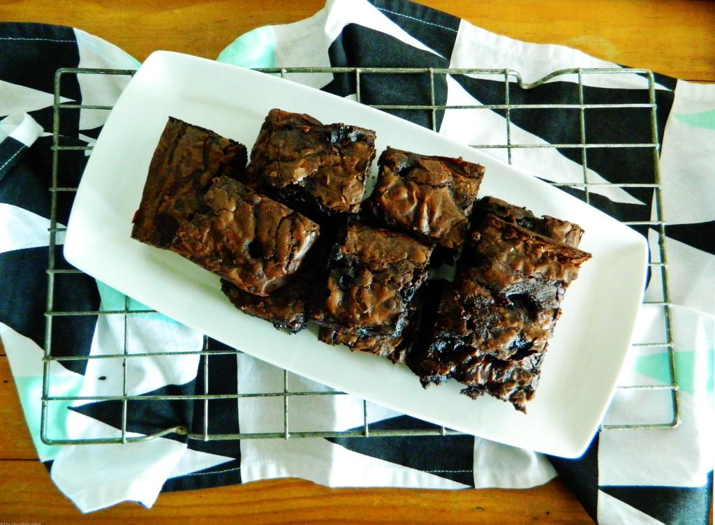 Fudgy Chocolate Blueberry Brownies - Decadent and rich chocolate brownies that live up to their name, further enhanced with juicy blueberries.