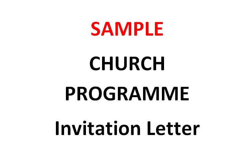 Sample Invitation letter inviting a church to a Worship
