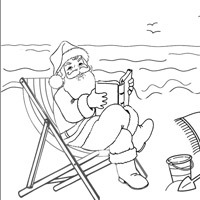 Santa On The Beach Coloring In Sheet