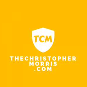 Christian Blog logo for Christopher Morris - Gold and White Lettering