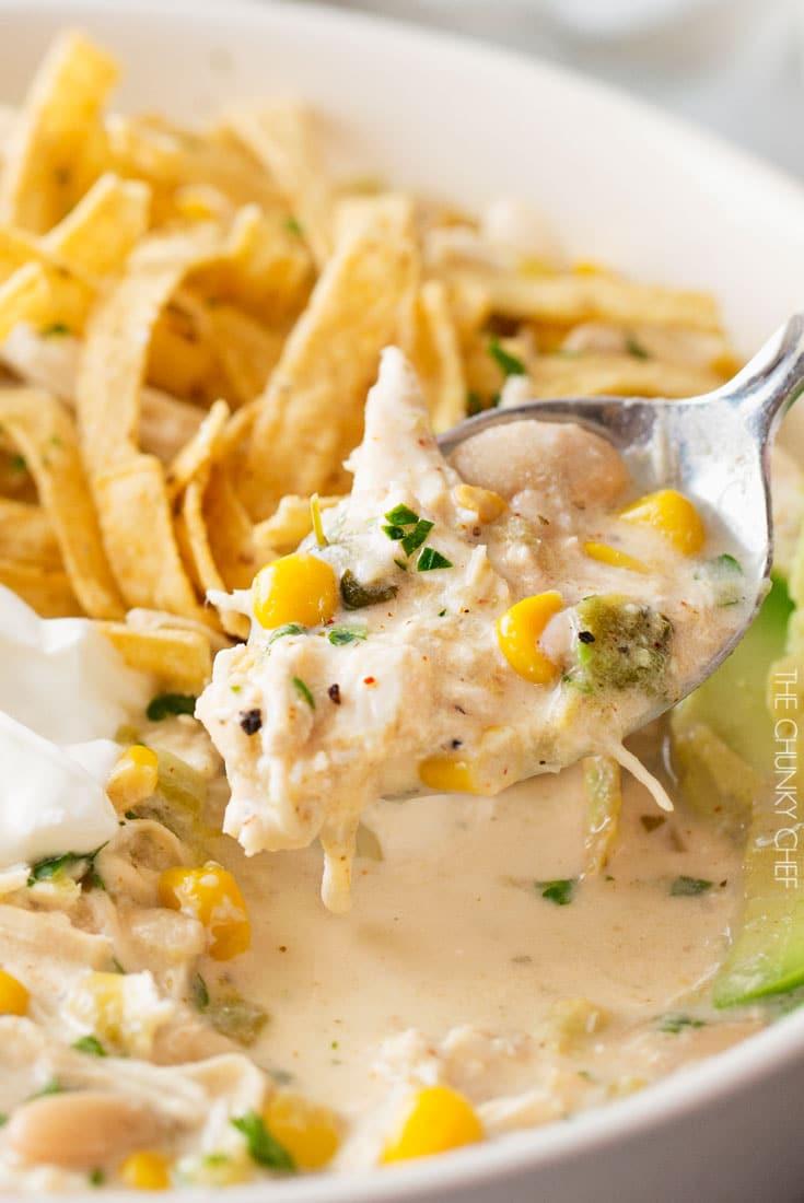 Slow Cooker Creamy White Chicken Chili Recipe | The Chunky Chef