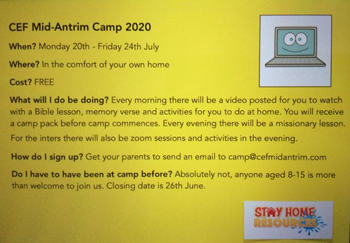 Mid-Antrim CEF Summer Camp online - Monday 20th-Friday 24th July 2020