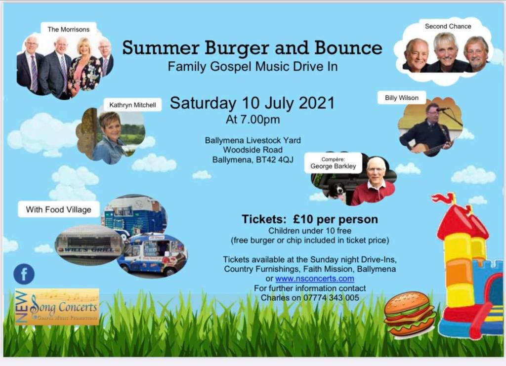 New Song Concerts planning Summer Burger and Bounce Drive-In event - Saturday 10th July 2021
