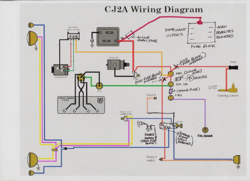 Ammeter Wiring Diagram Alternator Lights Fuse Block Install The Cj2a Page Forums