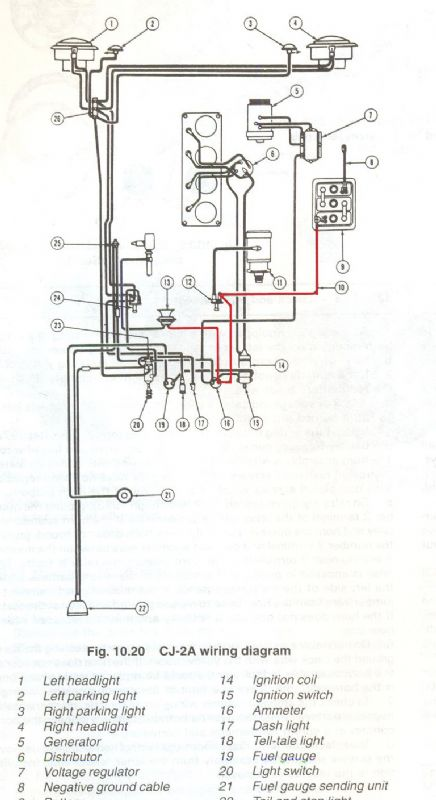 46 Jeep Cj2a Wiring Schematic For A - Diagrams Catalogue Jeep Cj A Electrical Wiring Diagram on