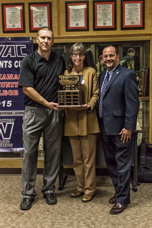 Athletic Director Jim Martineau, President Joanne Truesdell and Executive Director of NWAC Marco Azurdia.