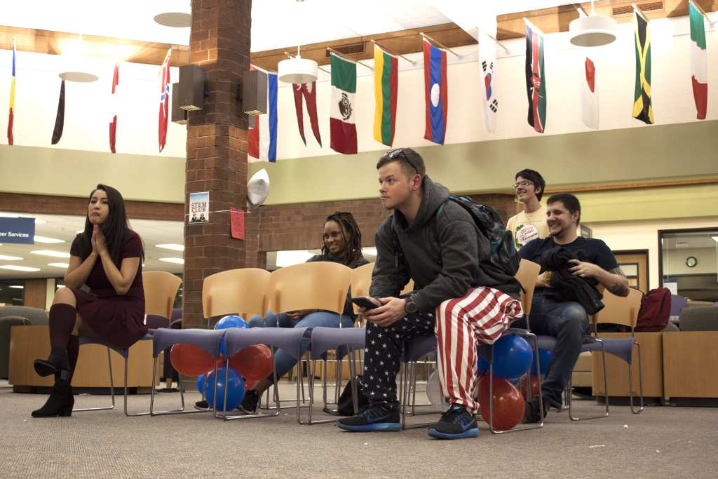 Students wait for election results at a viewing party in the Community Center Tuesday night,