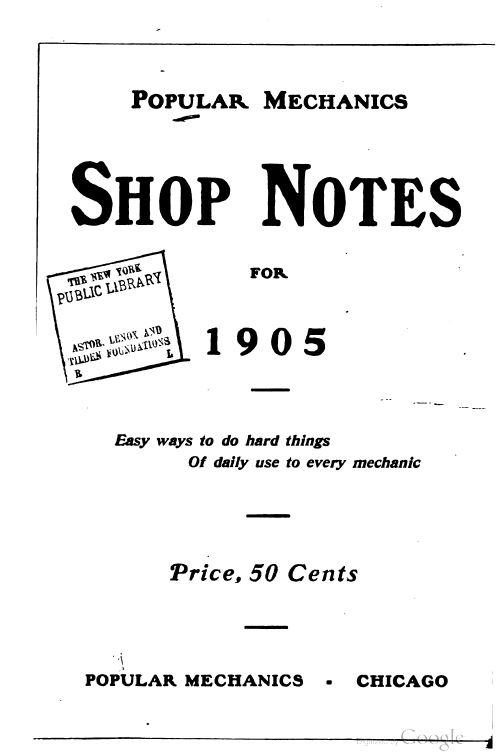 Vintage Popular Mechanics Shop Notes, 1905-21, 12 Classic