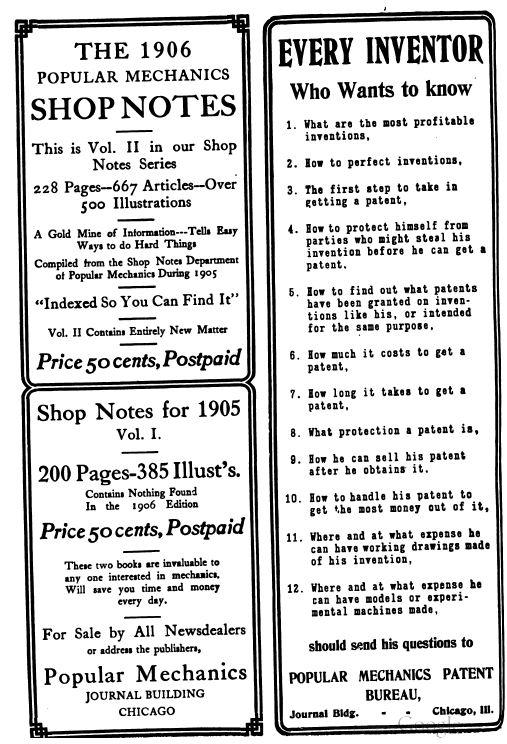 Popular Mechanics Shop Notes, 1905-1921, 12 Magazine