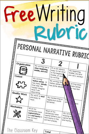 free writing rubric for teaching personal narratives in first, second, and third grade #teachingwriting  #personalnarrative