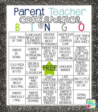 Parent Teacher Conference Bingo, teacher humor