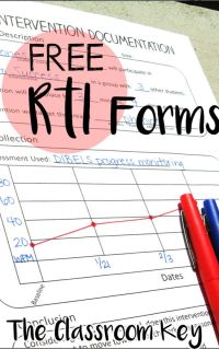 FREE RtI (response to intervention) forms for use by elementary school teachers