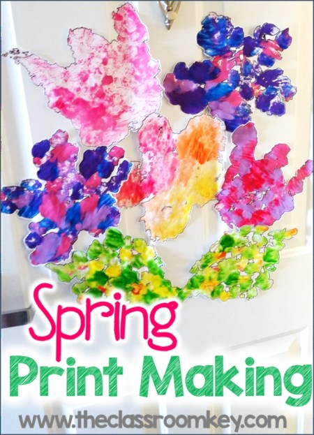 Spring printmaking for kids activity