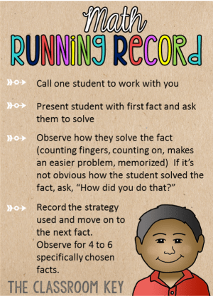 Math Running Record - these are the steps for this assessment which gives you a look at what math strategies your students are using