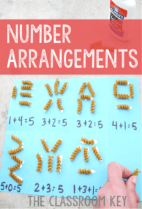 Number Arrangements, a number sense activity that helps student internalize combinations that make a number