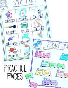 Bossy R Practice Pack ($) activities, posters, a minibook, and an assessment, perfect for teaching r controlled vowel patterns for 1st and 2nd graders
