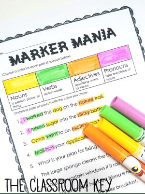 Parts of speech highlighting activity ($)