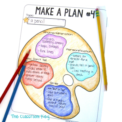 Kids can jot down a few ideas for similes, personification, and alliteration on a plan like this. Then choose their favorite ideas and arrange them in a draft.
