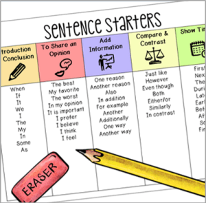 get students excited about opinion writing these ideas  improve student writing a sentence starters chart