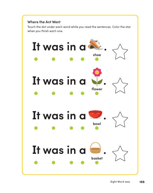 Patterned text for learning sight words from Learn to Read Activity Book by Hannah Braun