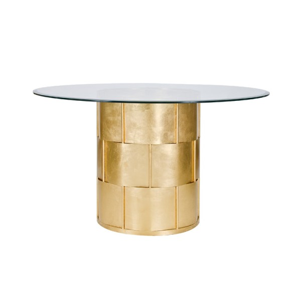 Glass Top Dining Table with Gold Base