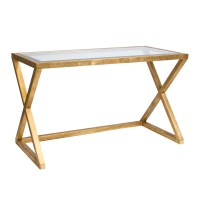 Worlds Away Mark Gold Leaf Desk With Beveled Glass Top
