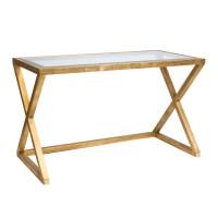 Worlds Away Mark Gold Leaf Desk With Beveled Glass Top