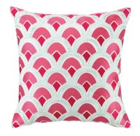 Fuschia Scallop Embroidered Pillow